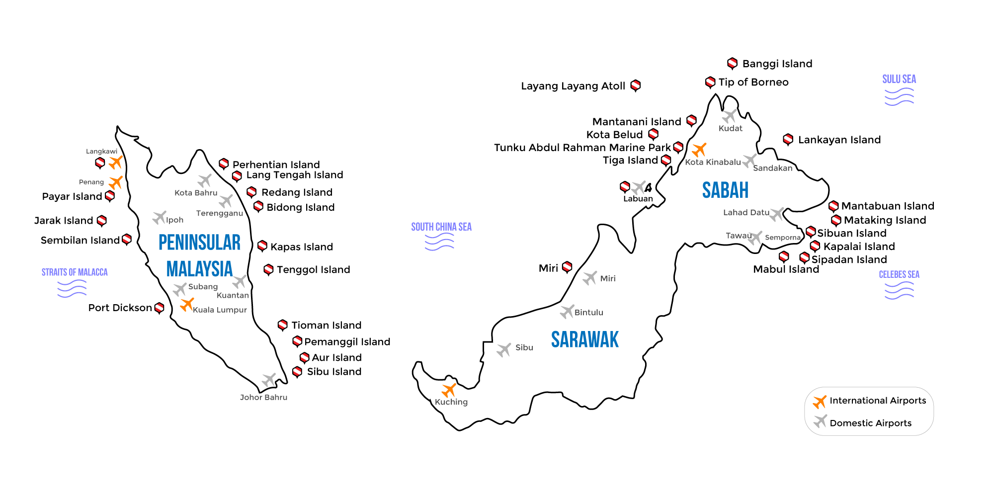 malaysia dive location map