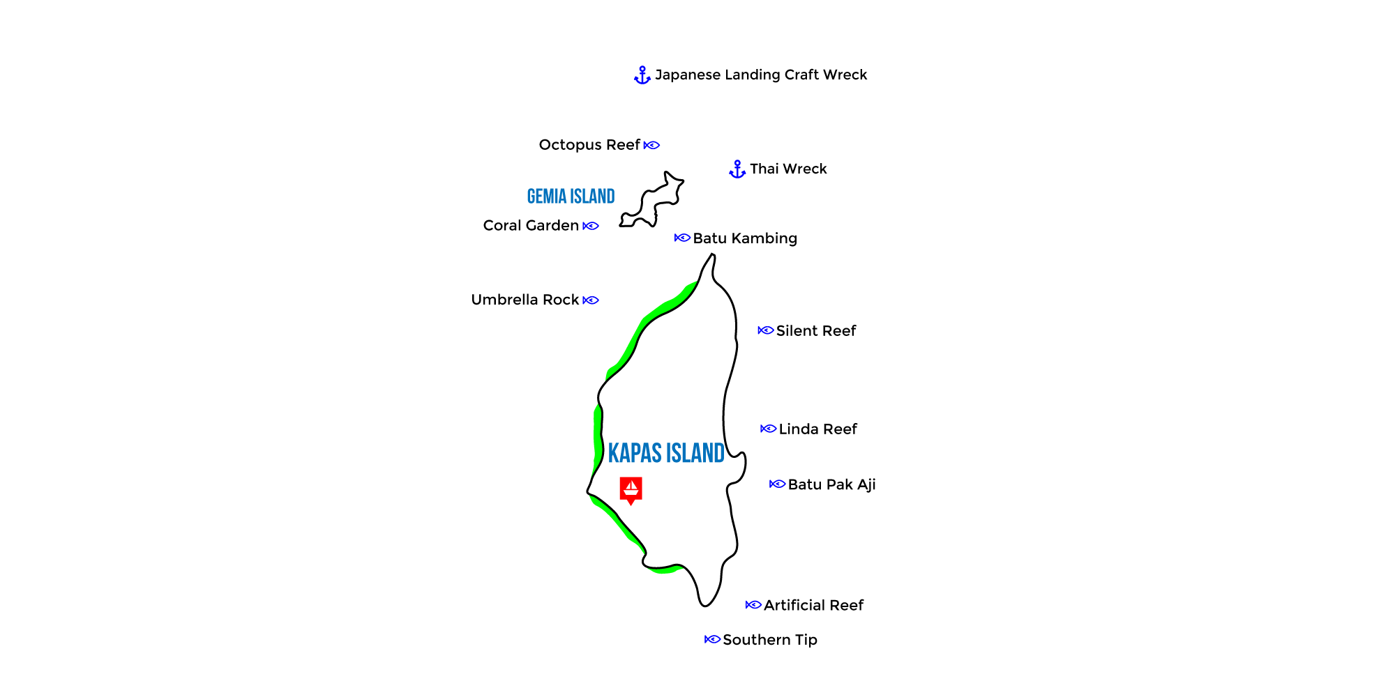 kapas island map