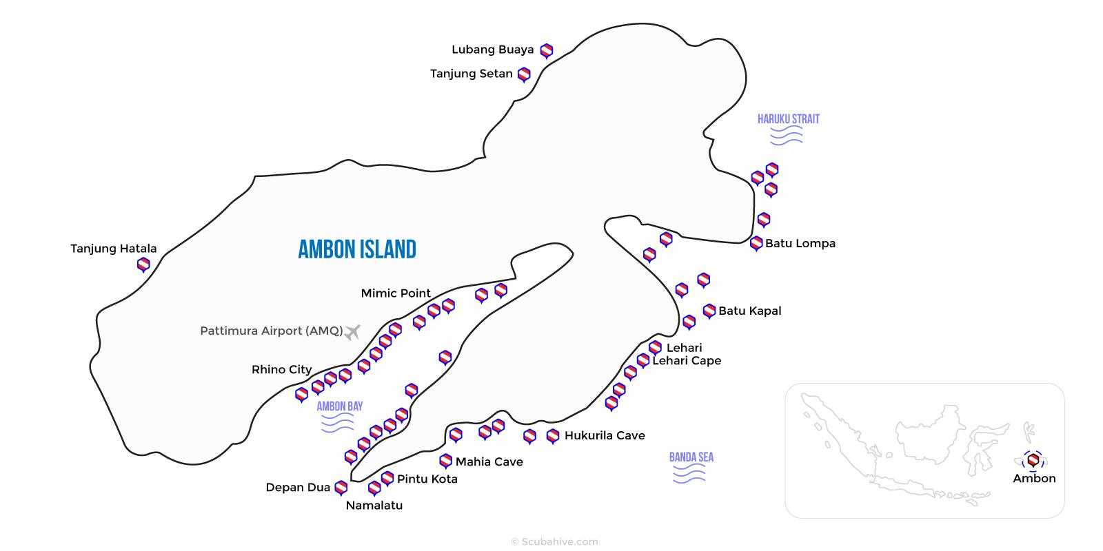 Ambon Indonesia Dive Map Location Scubahive