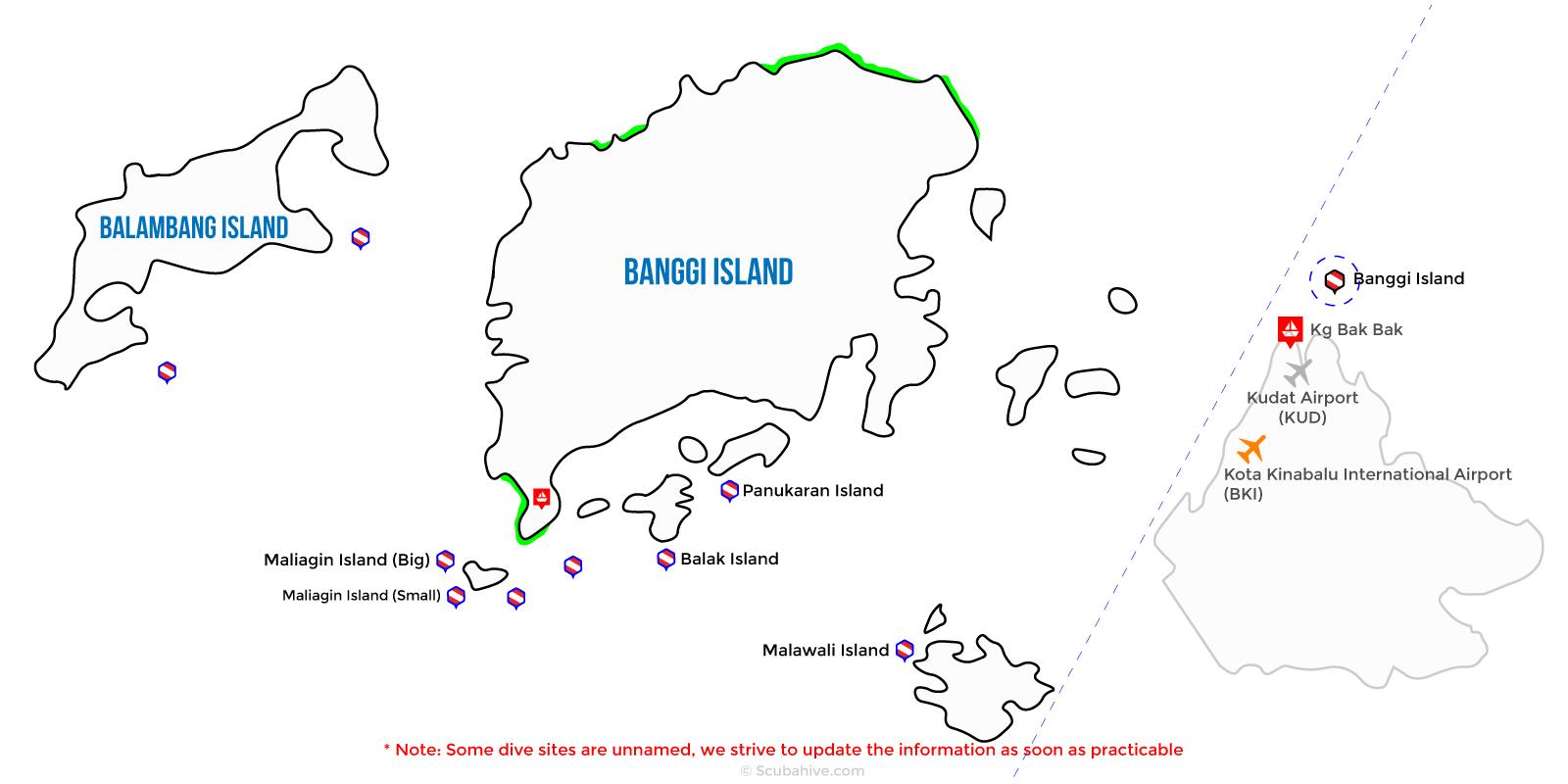 Dive Map Banggi Island Kudat Sabah