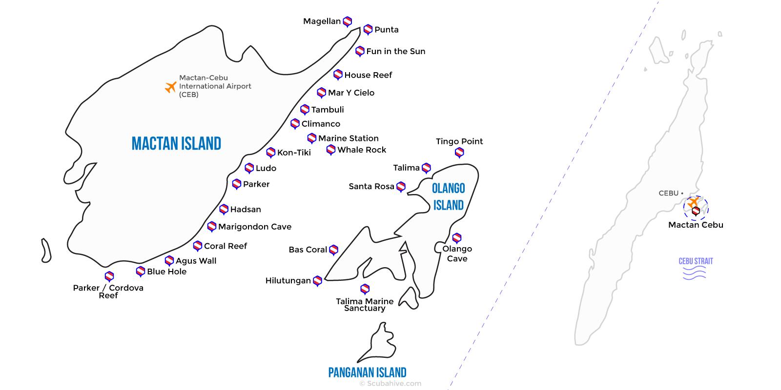Mactan Cebu Philippines Dive Map Location Scubahive