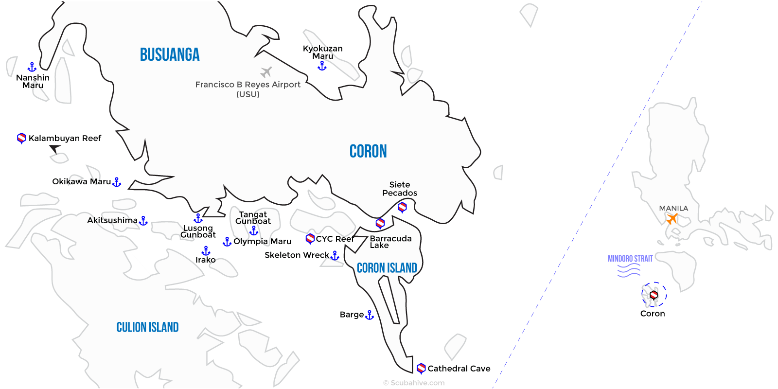 Coron Palawan Philippines Dive Map Location Scubahive