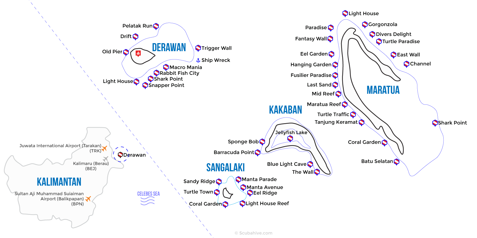 Derawan Sangalaki Indonesia Dive Map Location Scubahive