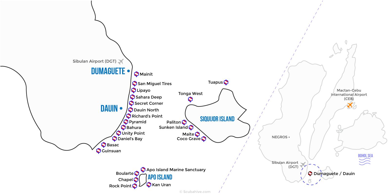Dumaguete Dauin Philippines Dive Map Location Scubahive
