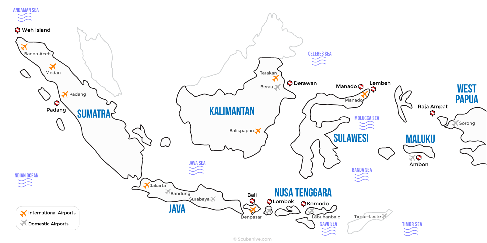 Indonesia Dive Map Location Scubahive