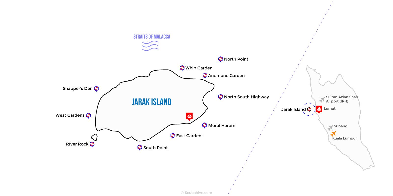 Dive Map Jarak Island Lumut Perak Malaysia