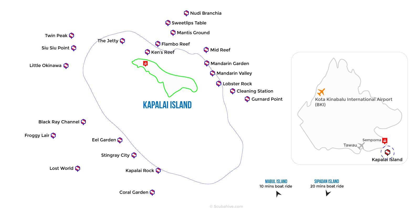 Dive Map Kapalai Island Semporna Sabah