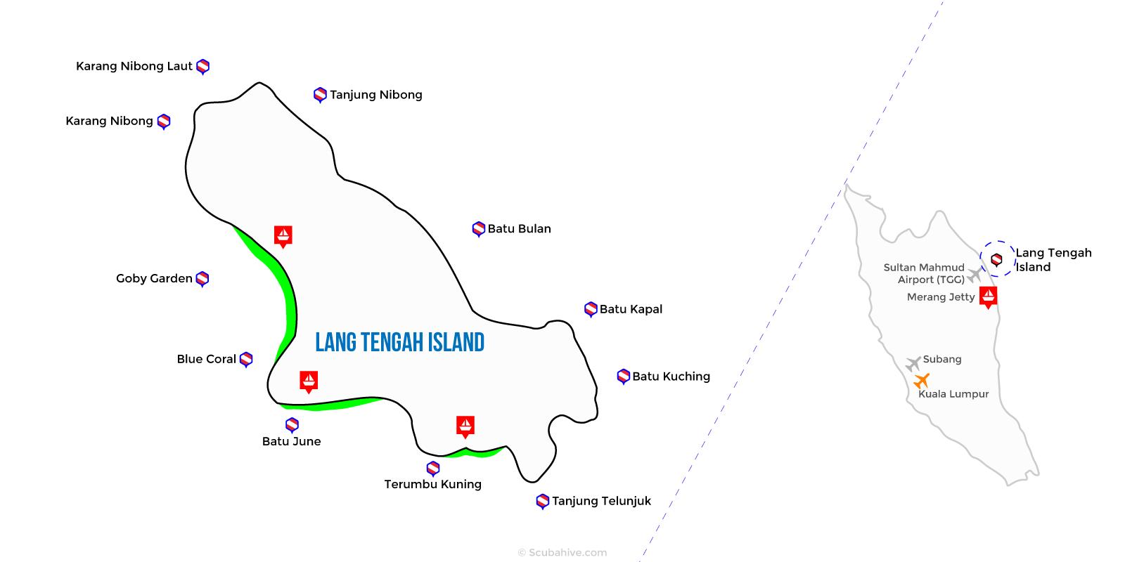 Dive Map Lang Tengah Island Terengganu Malaysia