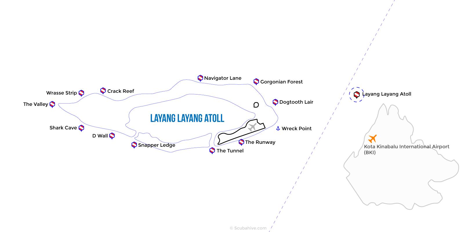 Dive Map Layang Layang Swallow Reef Sabah