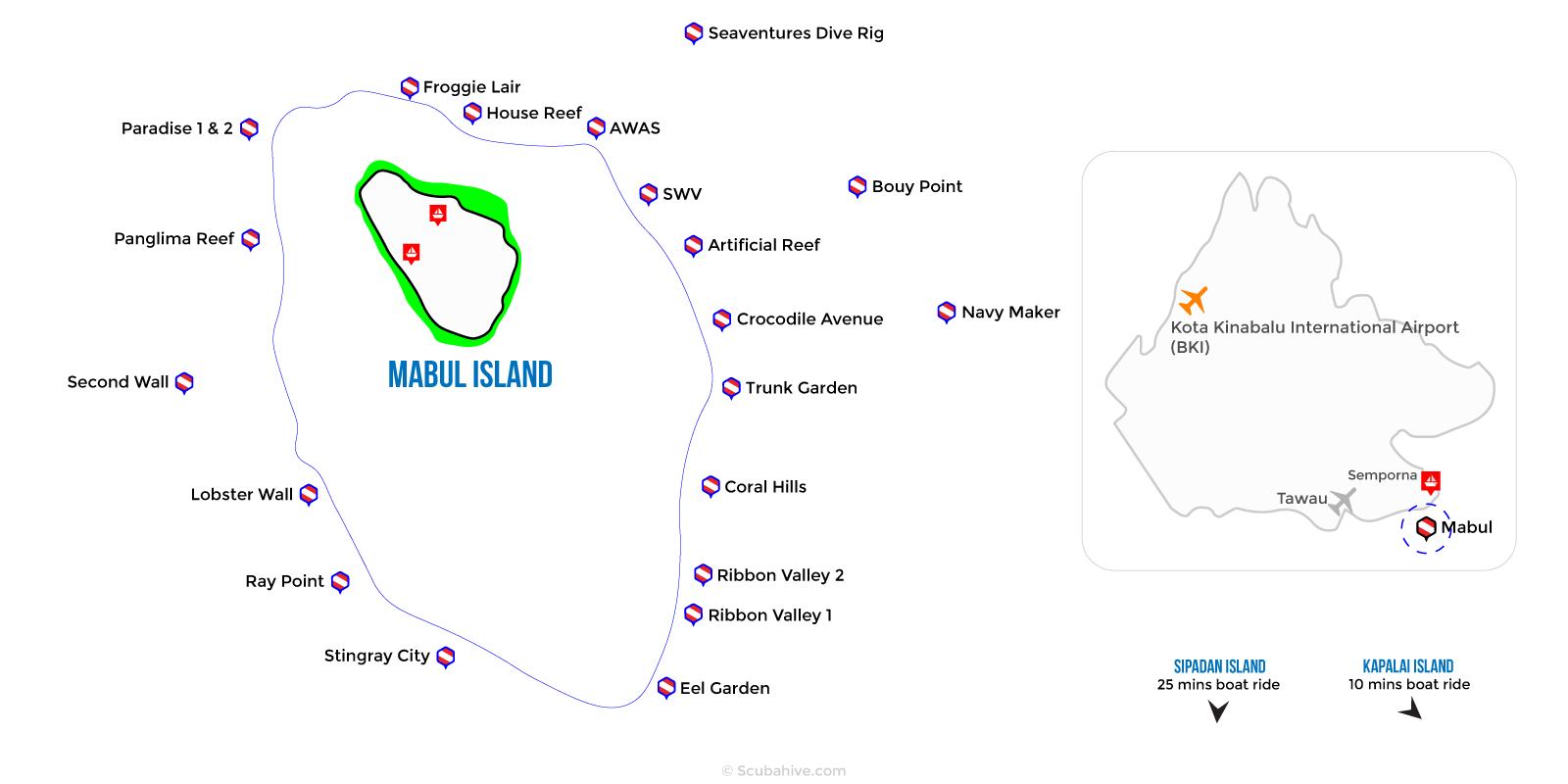 Dive Map Mabul Island Semporna Sabah