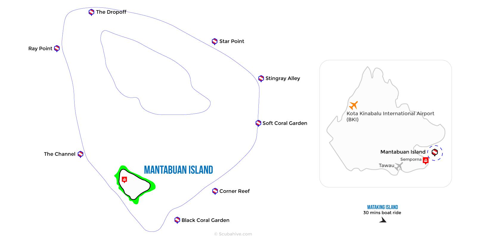 Dive Map Mantabuan Island Semporna Sabah