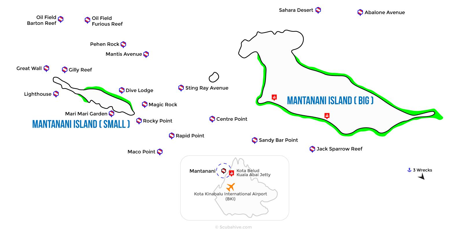 Dive Map Mantanani Island Sabah
