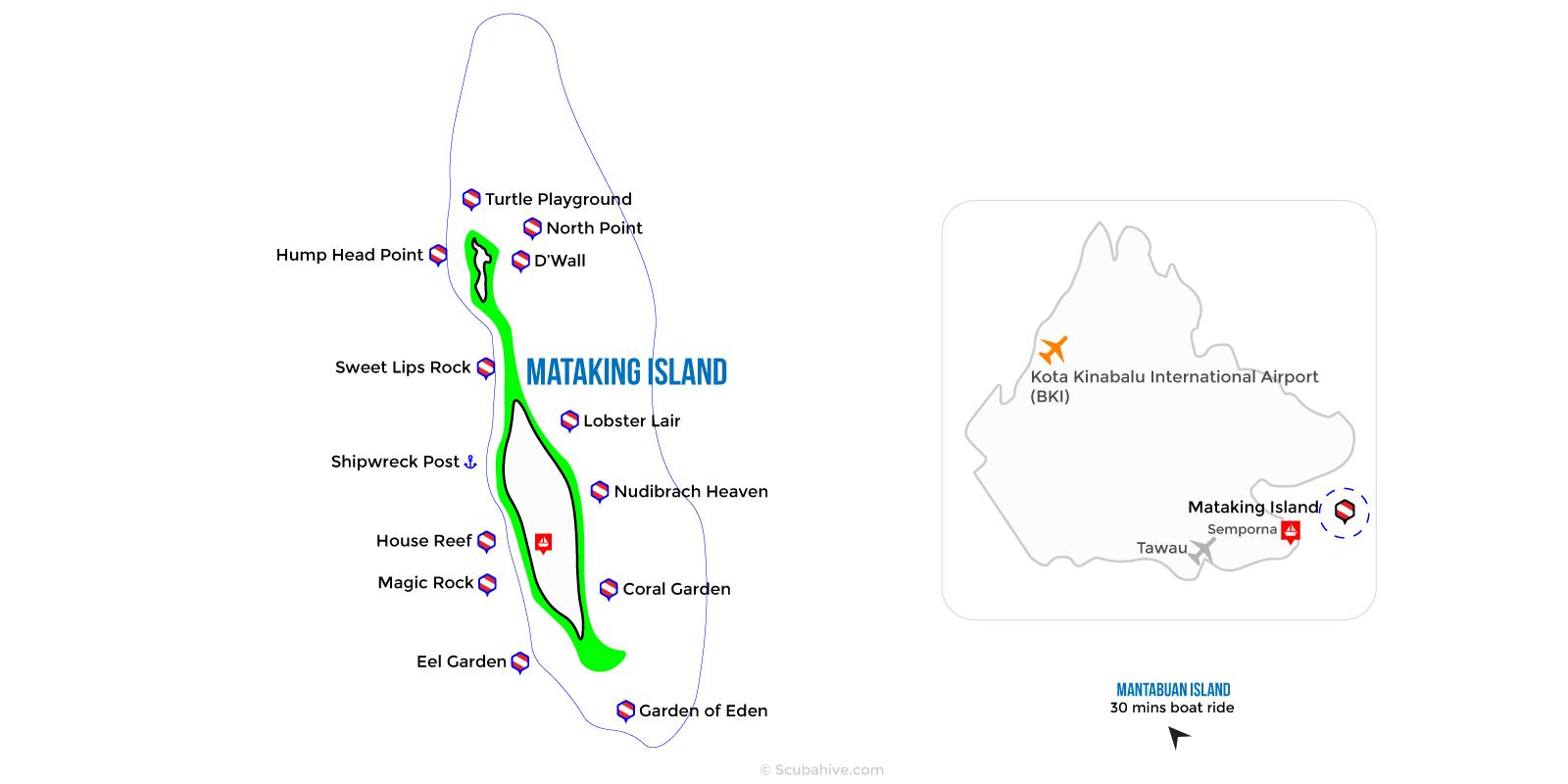 Dive Map Mataking Island Semporna Sabah