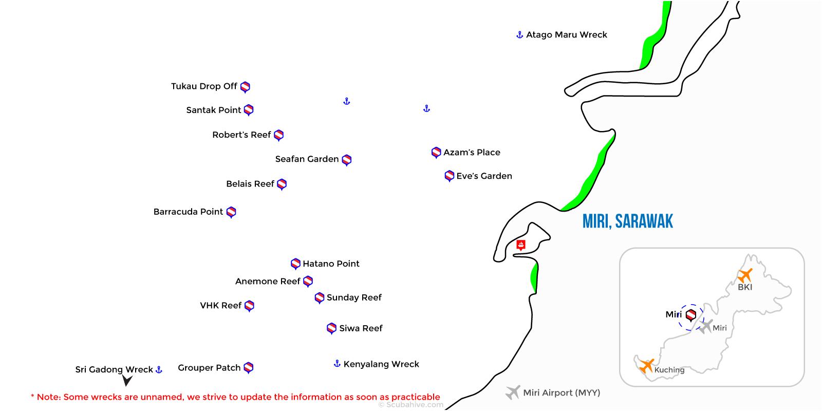 Dive Map Miri Sawarak Borneo