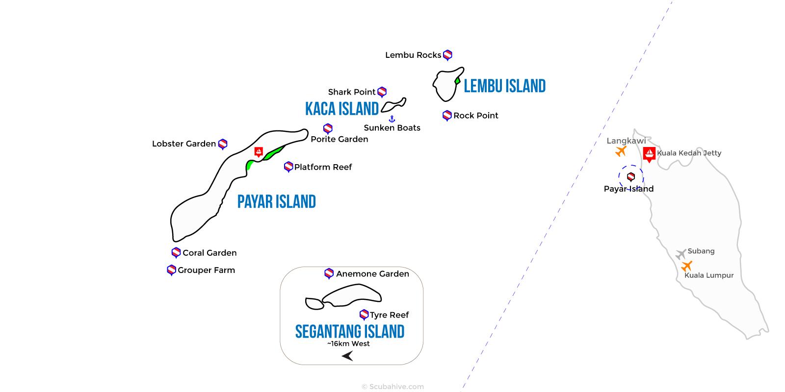 Dive Map Payar Island Marine Park Langkawi Malaysia