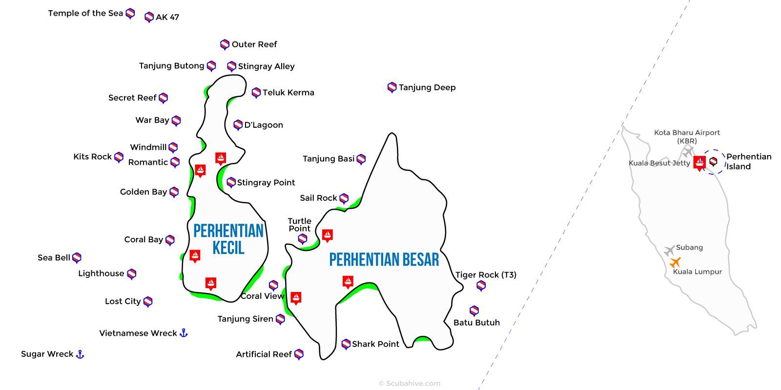 Dive Map Perhentian Island Terengganu Malaysia