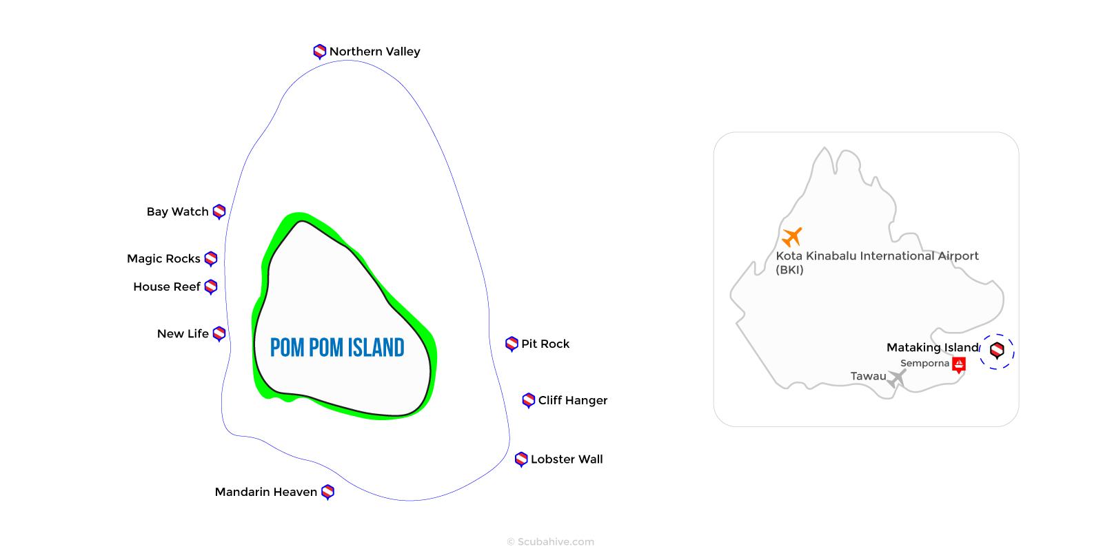 Dive Map Pom Pom Island Semporna Sabah
