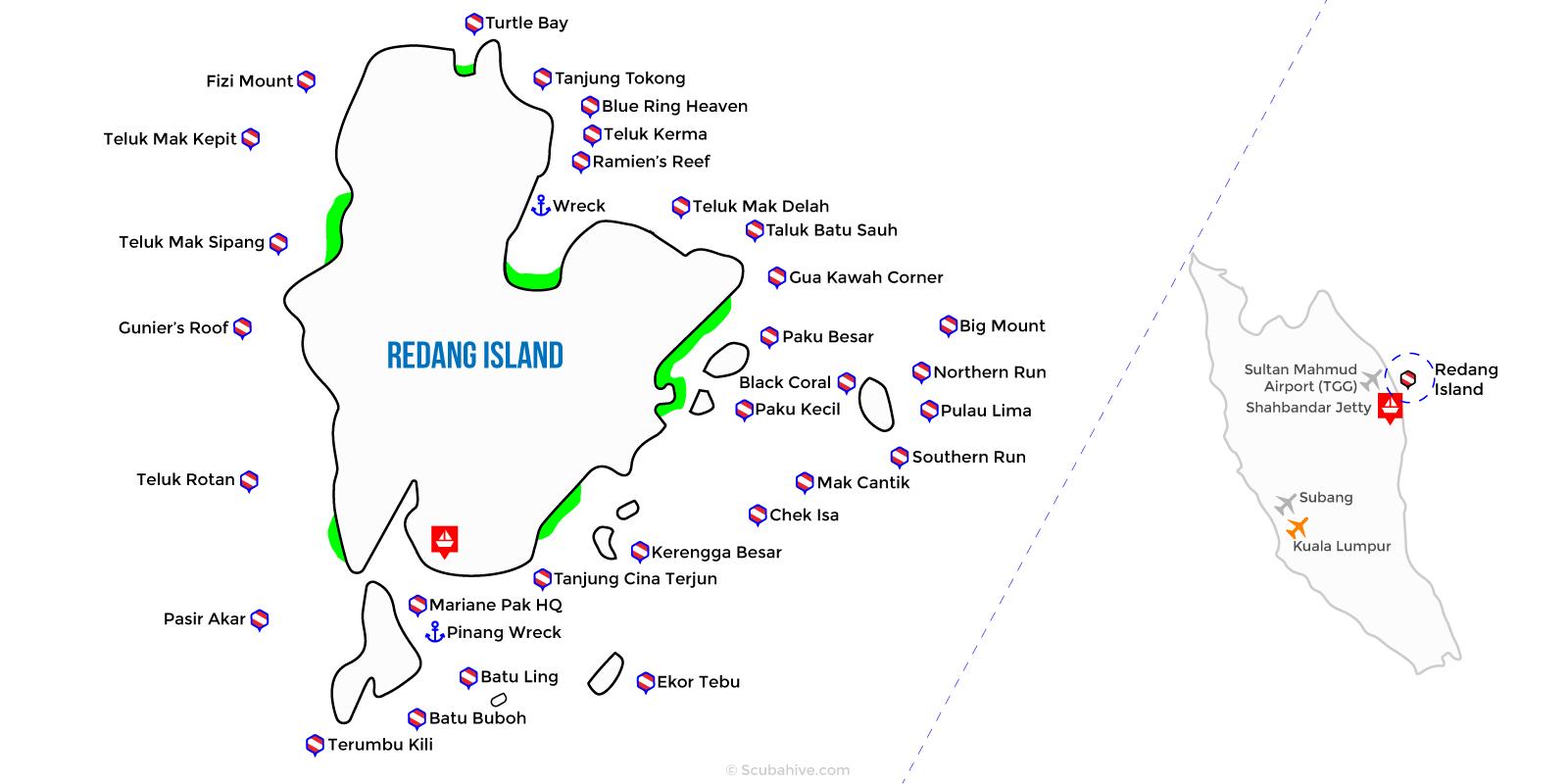 Dive Map Redang Island Terengganu Malaysia