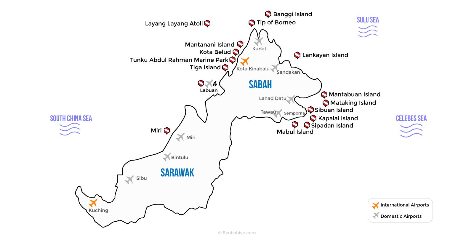 East Malaysia Sabah Sarawak Dive Location Map Scubahive