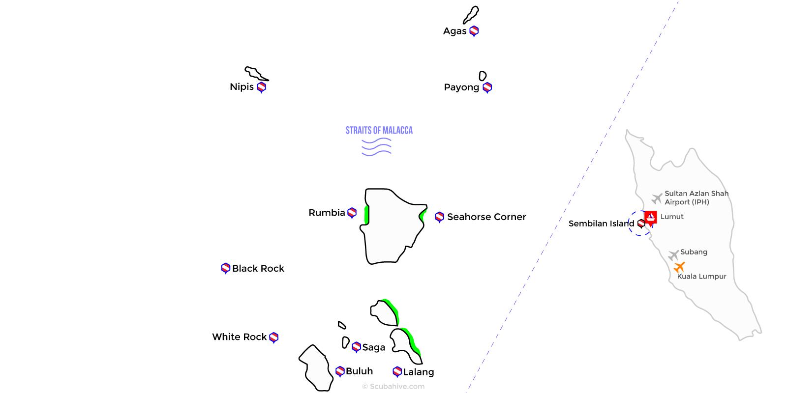 Dive Map Sembilan Island Pangkor Lumut Perak Malaysia