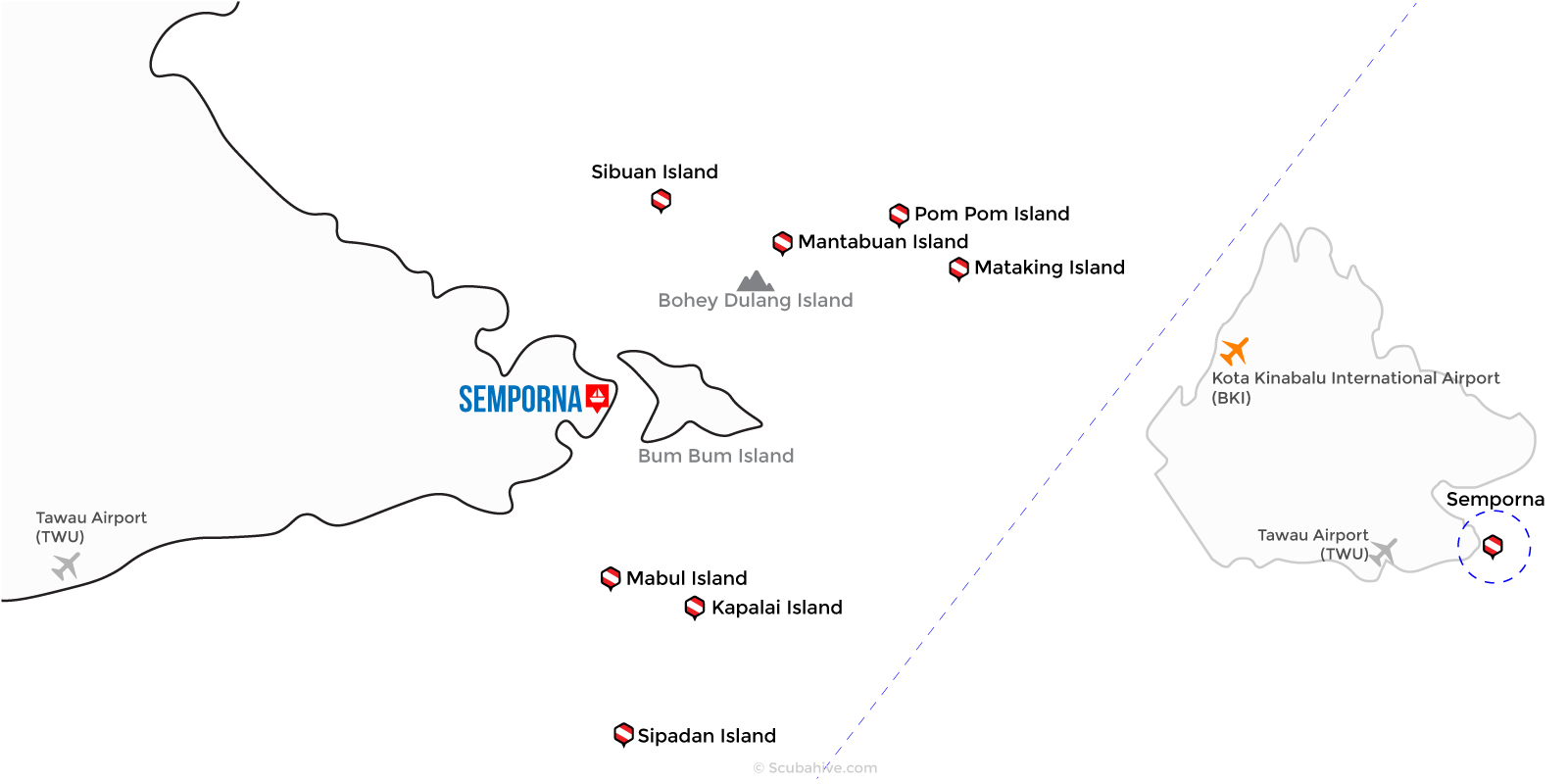 Dive Semporna Map Scubahive Borneo Malaysia