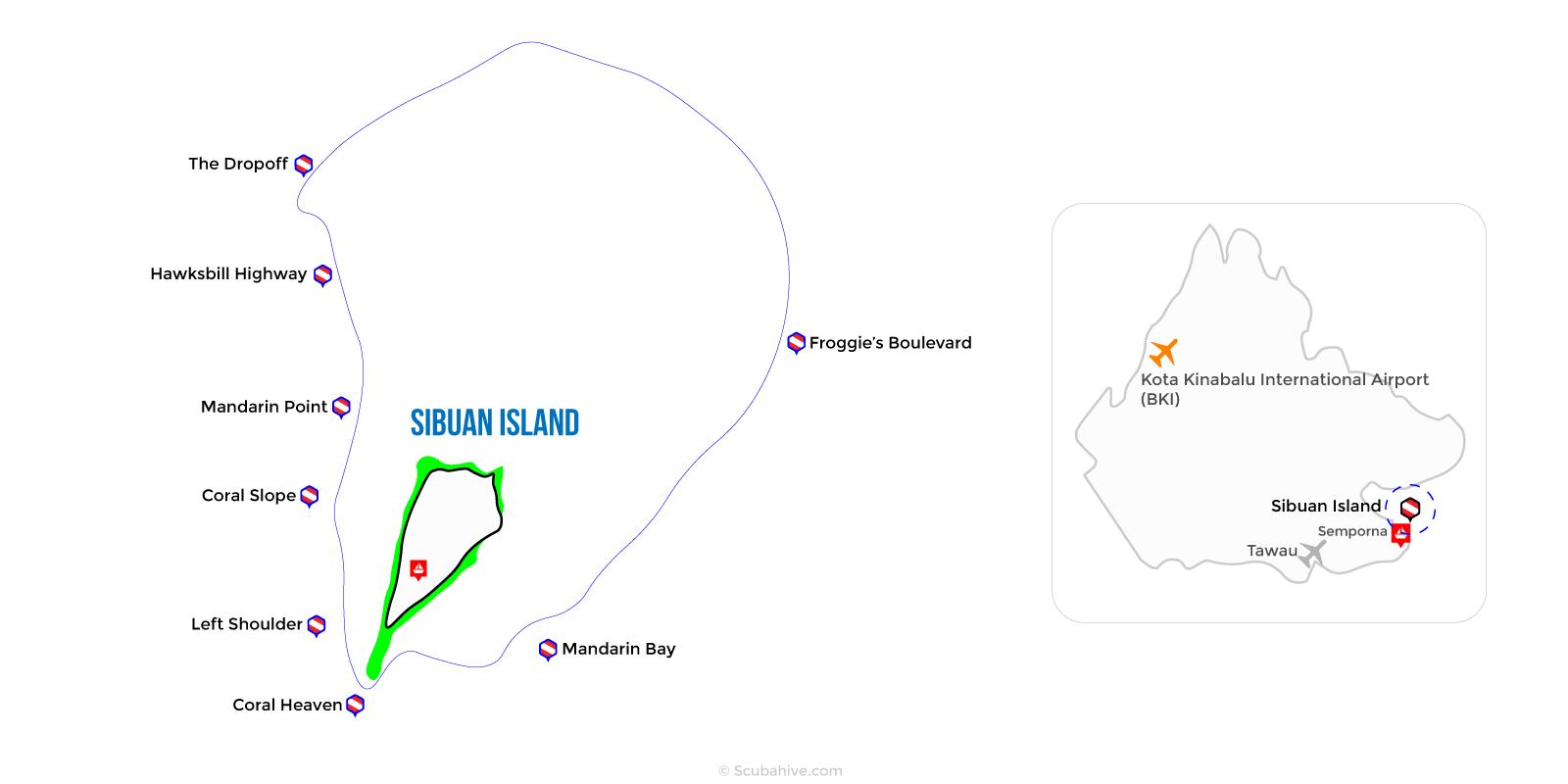 Dive Map Sibuan Island Semporna Sabah