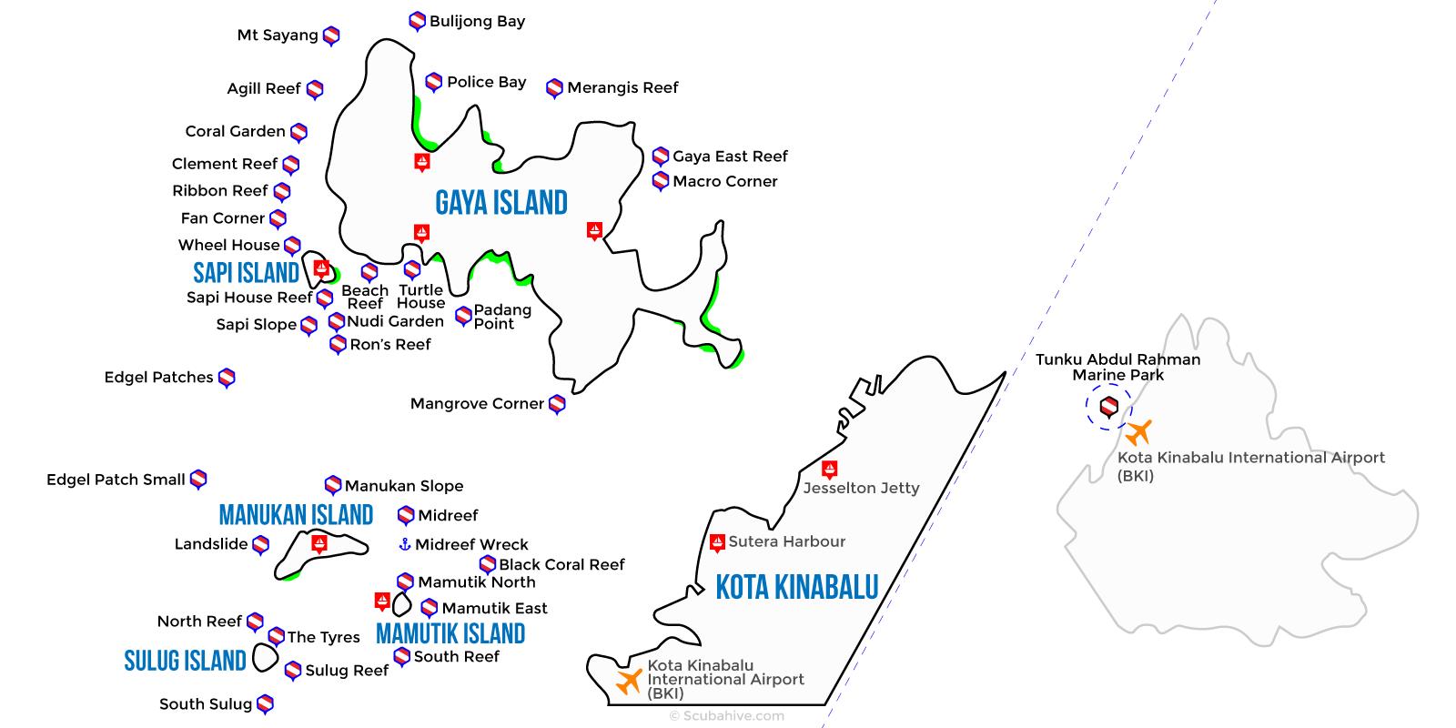 Dive Map Tunku Abdul Rahman Marine Park Kota Kinabalu Sabah
