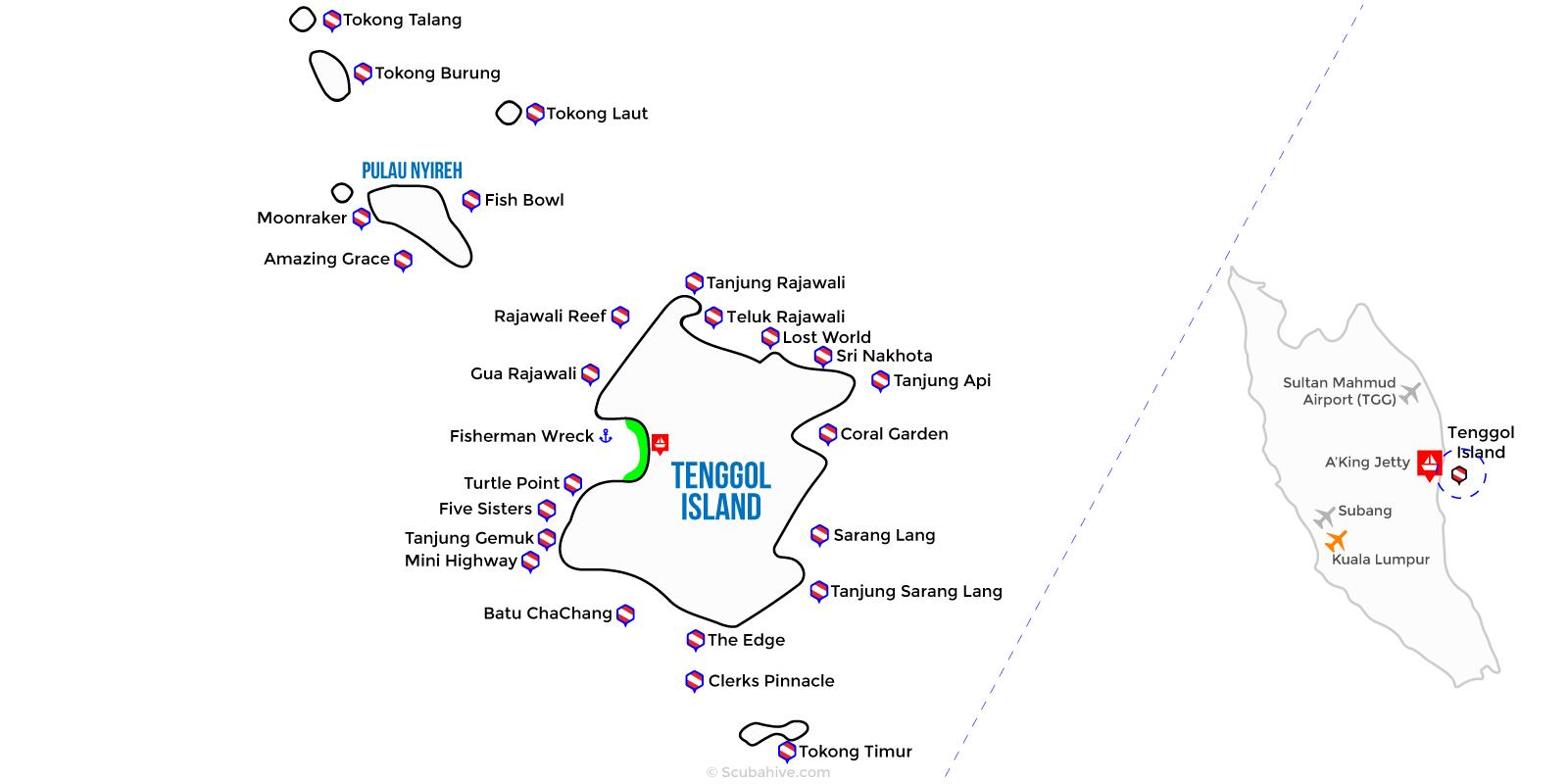 Dive Map Tenggol Island Terengganu Malaysia