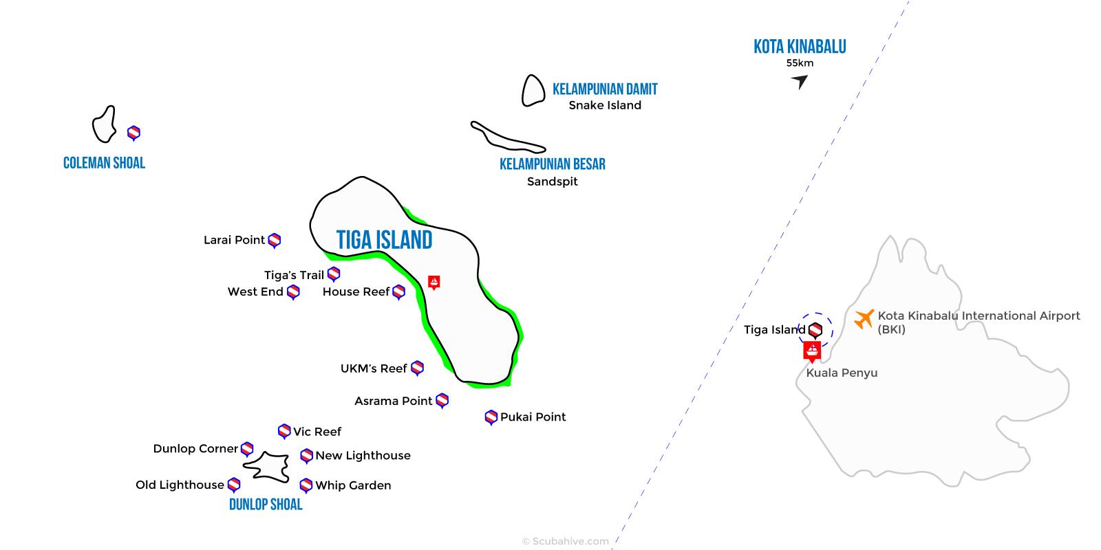 Dive Map Tiga Survivor Island Sabah