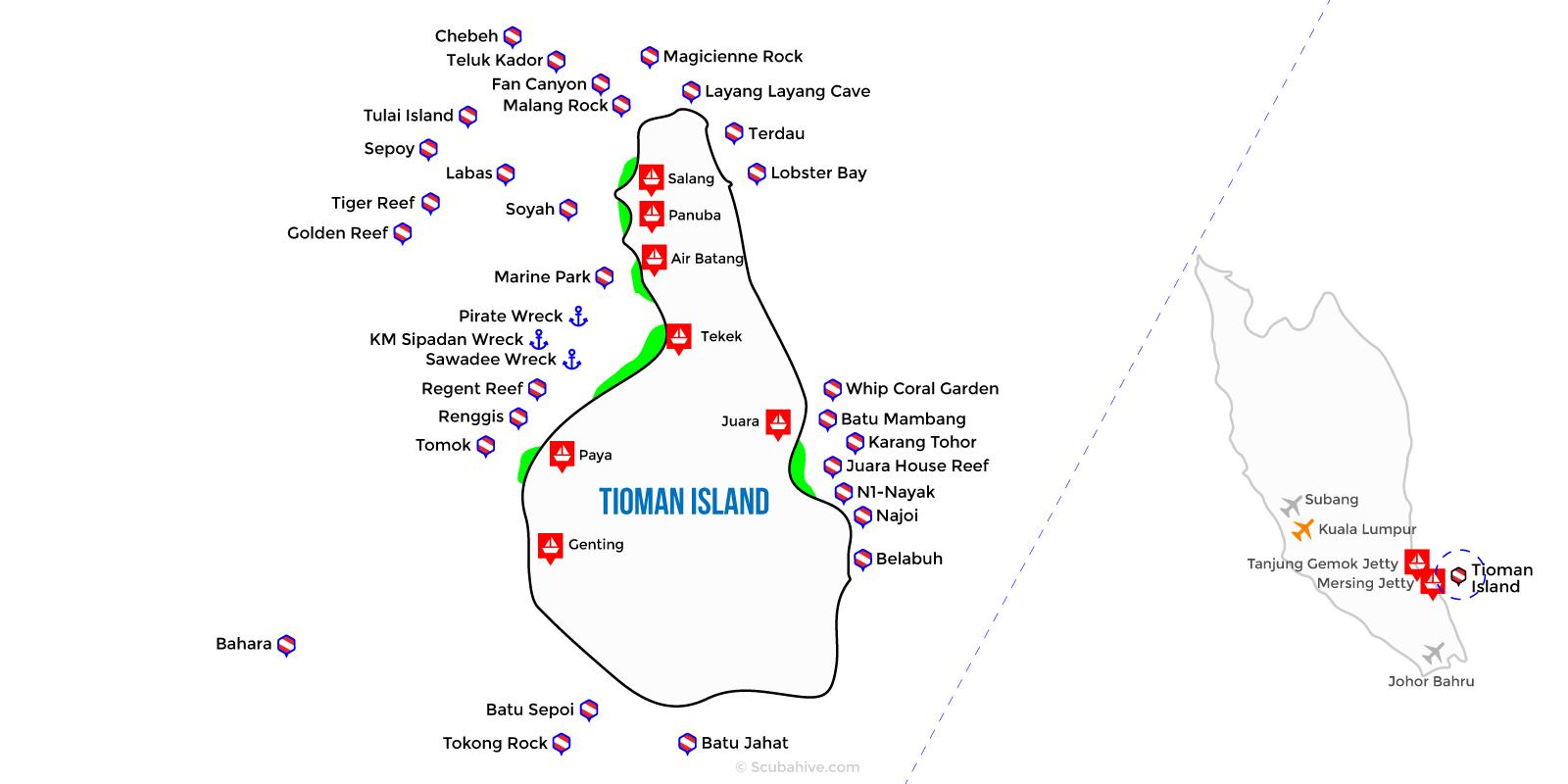 Dive Map Tioman Island Pahang Malaysia