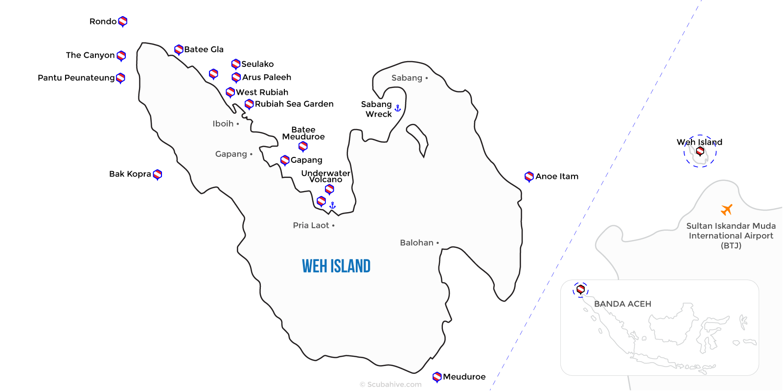 Weh Island Indonesia Dive Map Scubahive