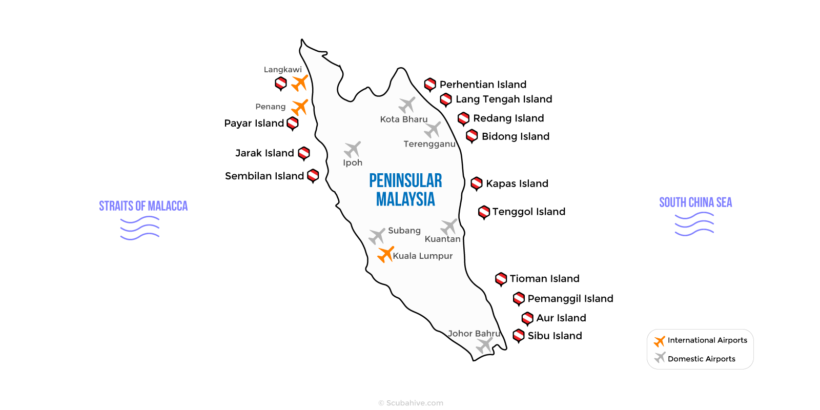 Peninsular West Malaysia Dive Location Map Scubahive