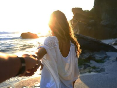romantic couple beach